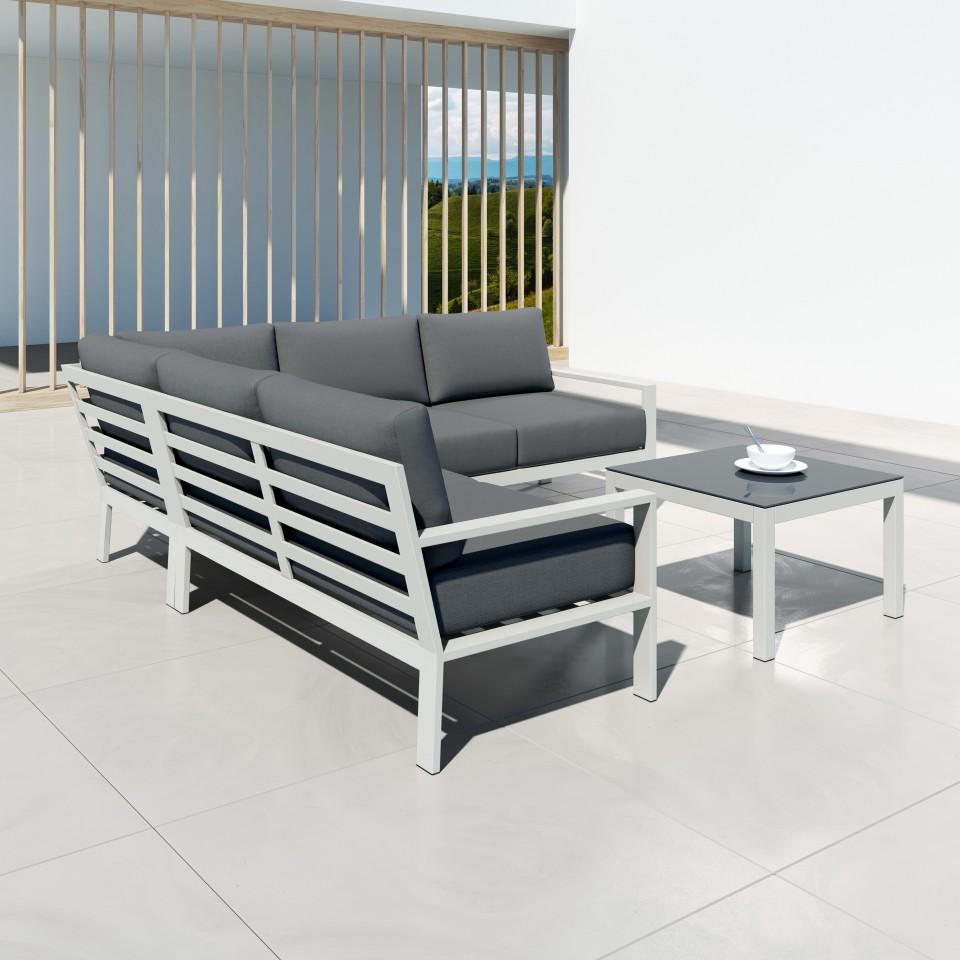 MIO - Salon de jardin design aluminium - Blanc Gris ...