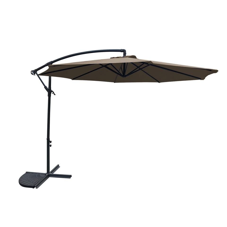 MILANO - Salon d\'angle de jardin aluminium Gris/noir + Parasol ...