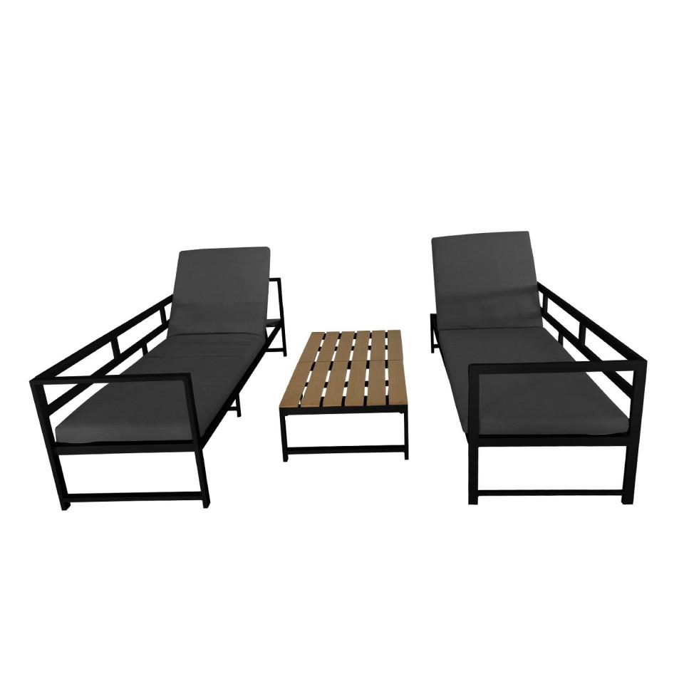 TORINO - Salon d\'angle de jardin aluminium Gris/noir + ...