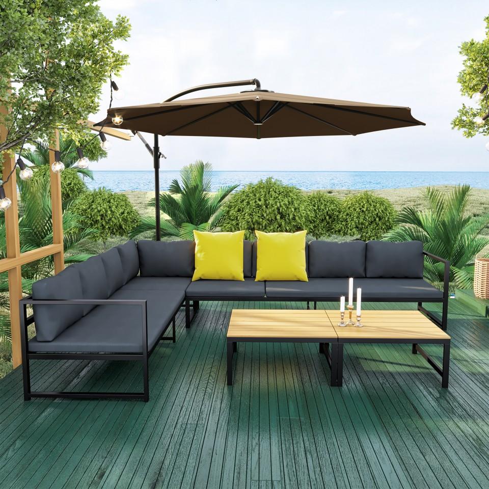 TORINO - Salon d\'angle de jardin aluminium Gris/noir + Parasol ...
