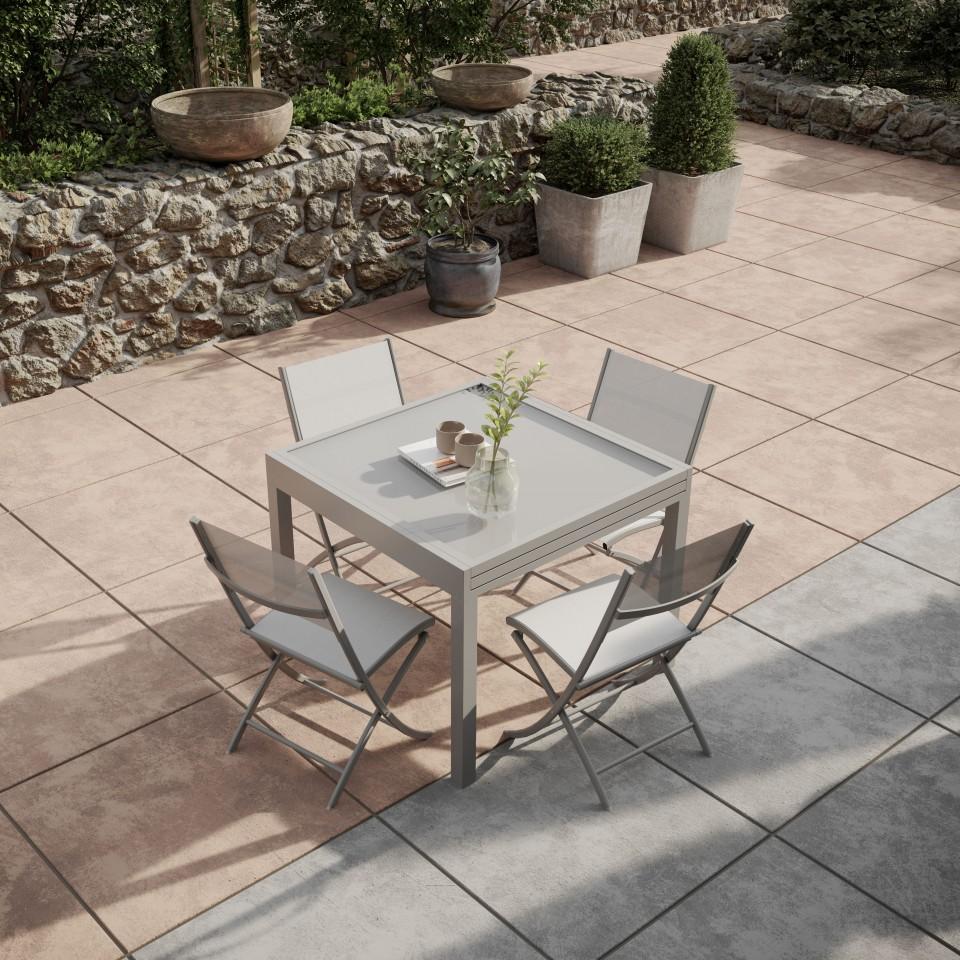 bora table de jardin extensible aluminium 90 180cm 4. Black Bedroom Furniture Sets. Home Design Ideas
