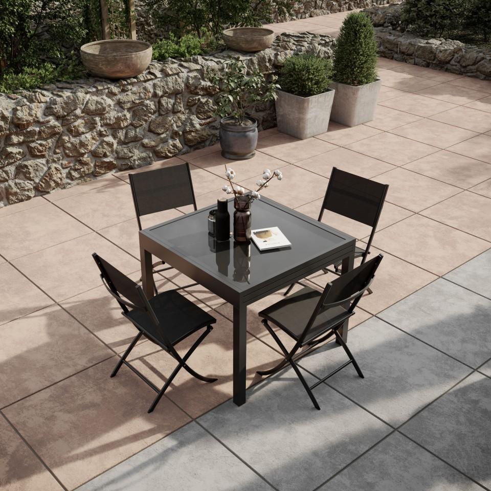 Table aluminium BORA 90180cm4 de jardin extensible SUzMLqVGp