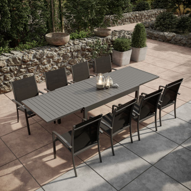Table de jardin extensible aluminium 135/270cm + 8 fauteuils empilables textilène Gris Anthracite - ANDRA