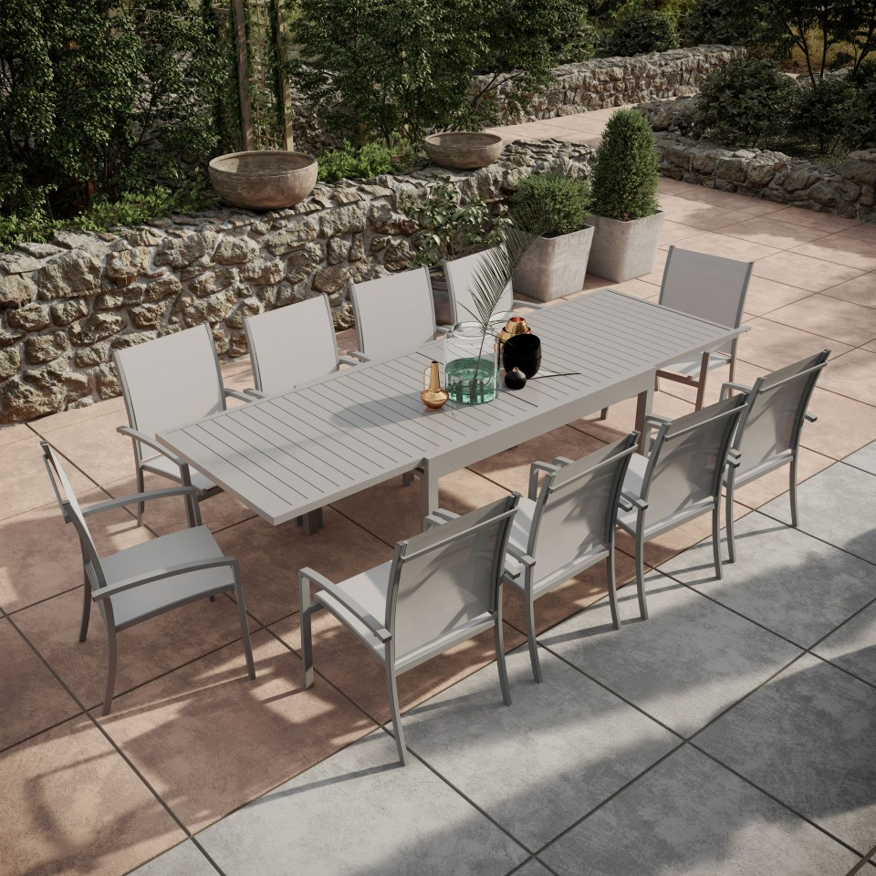 ANDRA - Table de jardin extensible aluminium 135/270cm + 10 ...