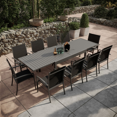 Table de jardin extensible aluminium 135/270cm + 10 Fauteuils empilables textilène Gris Anthracite - ANDRA