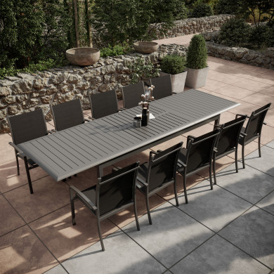 Table de jardin extensible aluminium 220/320cm + 10 Fauteuils empilables textilène Gris Anthracite - ANDRA XL