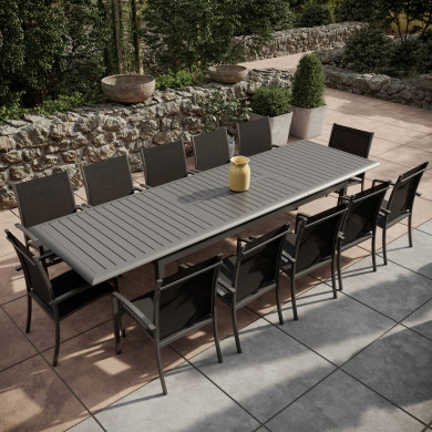 Table de jardin extensible aluminium 220/320cm + 12 fauteuils empilables textilène Gris Anthracite - ANDRA XL