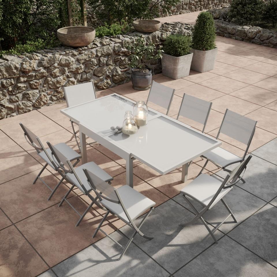 BORA - Table de jardin extensible aluminium/verre 90/180cm + 8 ...