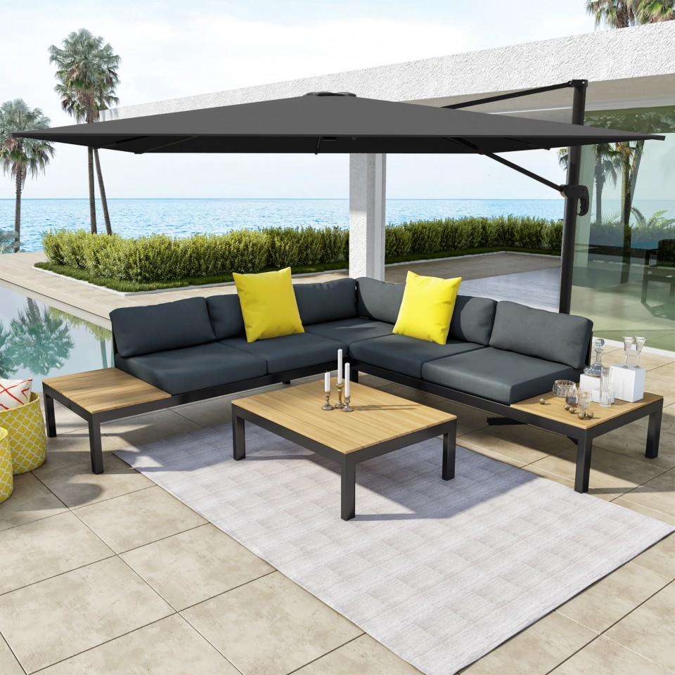 Salon d\'angle de jardin Gris/Noir + Parasol déporté carré 3x3 ...