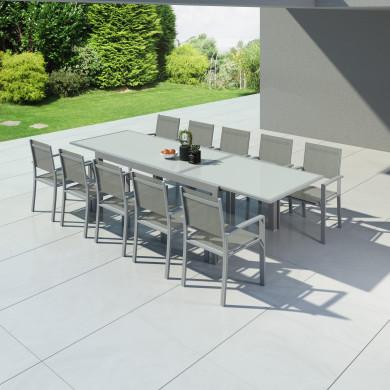 HARA XXL - Table de jardin extensible aluminium 200/320cm + 10 fauteuils textilène Argentée