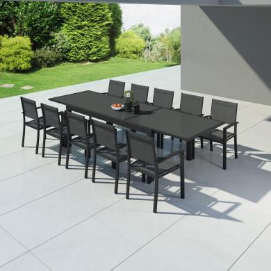 HARA XXL - Table de jardin extensible aluminium 200/320cm + 10 fauteuils textilène Anthracite