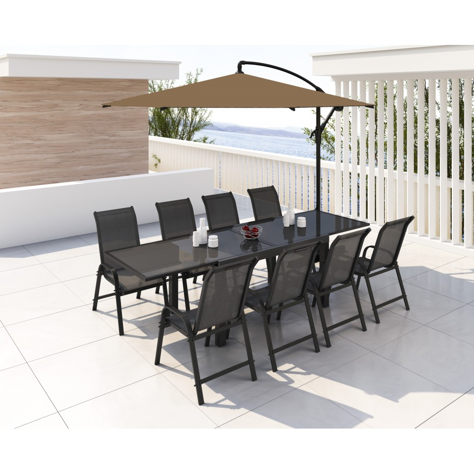 Table de jardin extensible aluminium 140/280cm + 8 fauteuils ...