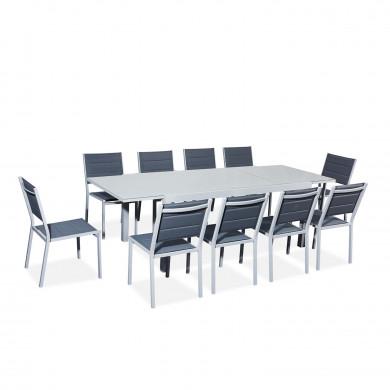 Table de jardin extensible aluminium 180/240cm + 10 chaises empilables textilène gris - VERONE