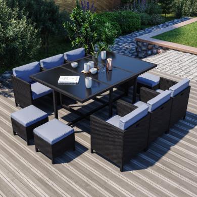 MUNGA 10 Places - Ensemble encastrable salon / table de jardin résine tressée-Noir/Gris