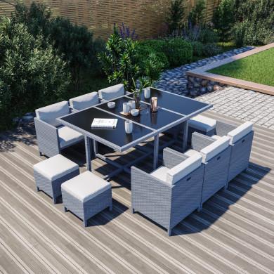 10 Places - Ensemble encastrable salon / table de jardin résine tressée - Gris / Ecru - MUNGA 10B