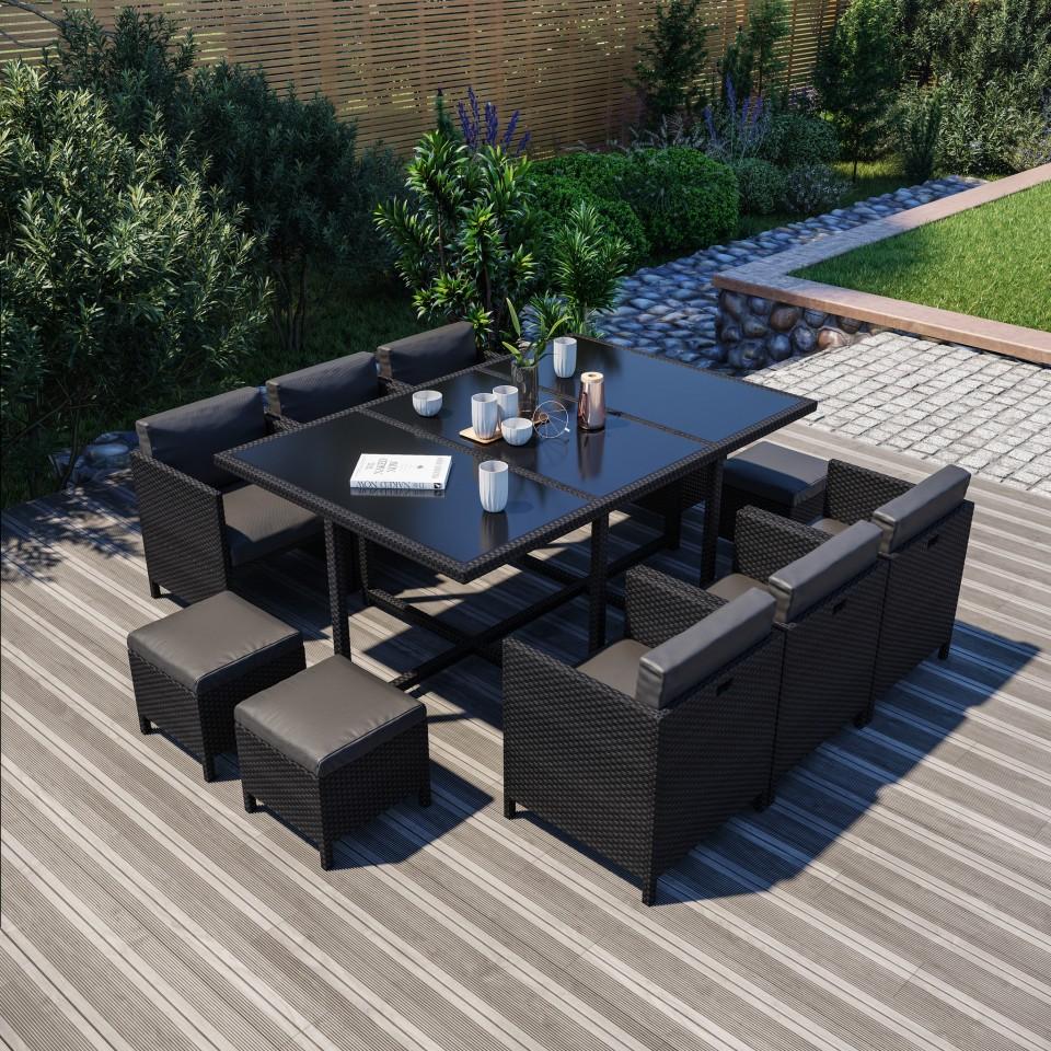 10 Places - Ensemble encastrable salon / table de jardin résine tressée-Noir - MUNGA 10B