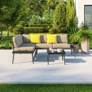 Salon d'angle de jardin design aluminium couleur Bois Gris - petit MILANO
