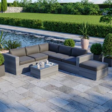 Ensemble salon de jardin en résine tressée fonctionnel avec coffre de rangement intégré- gris - FARENZA