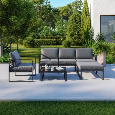 5 Places salon de jardin design aluminium couleur Gris -