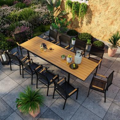 Table de jardin extensible aluminium noir 200/300cm + 10 fauteuils empilables textilène - MARCEAU