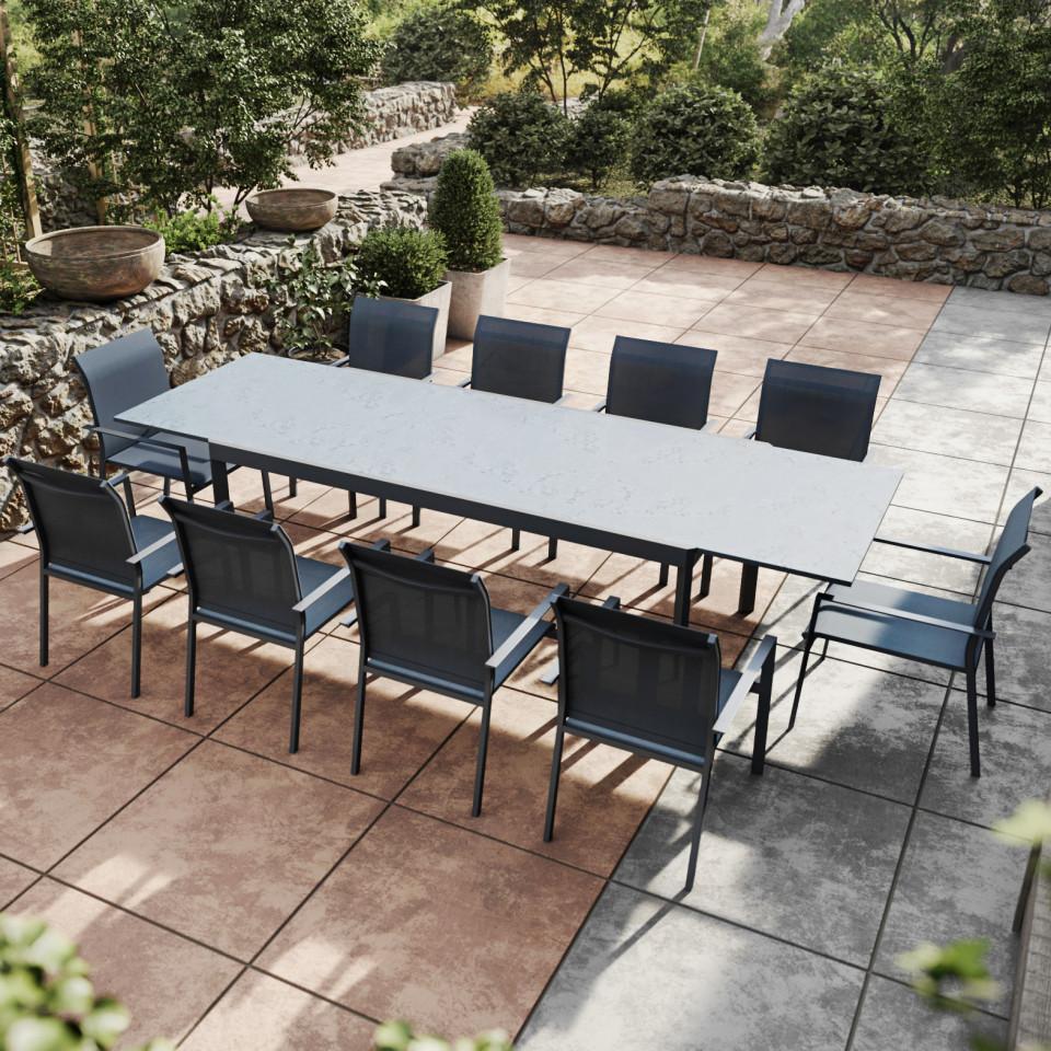 Ensemble de salon de jardin avec table extensible, Gris Anthracite
