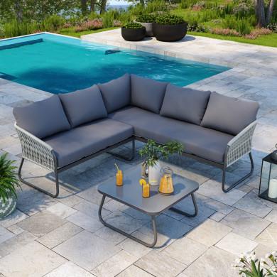 Cosy ensemble salon de jardin design aluminium - Gris - intérieur/extérieur