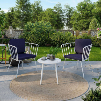 Balcon salon de jardin blanc aluminium - ensemble 2 places - MILA