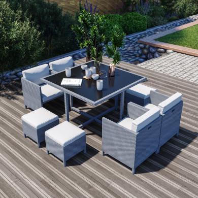 8 Places - Ensemble encastrable salon / table de jardin résine tressée - Gris / Ecru - MUNGA 8