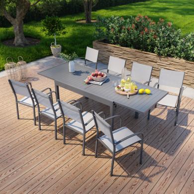 Table de jardin extensible en aluminium 270cm + 8 fauteuils empilables textilène anthracite gris - MILO 8