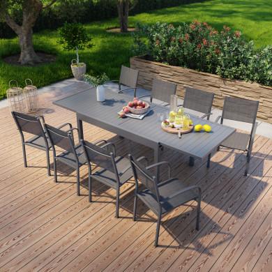 Table de jardin extensible en aluminium 270cm + 8 fauteuils empilables textilène anthracite - MILO 8