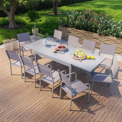 Table de jardin extensible en aluminium 270cm + 8 fauteuils empilables textilène gris - MILO 8