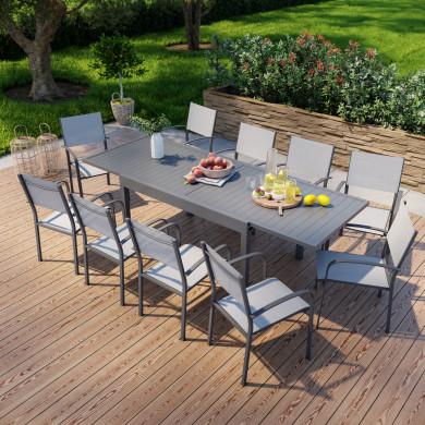 Table de jardin extensible en aluminium 270cm + 10 fauteuils empilables textilène anthracite gris - MILO 10
