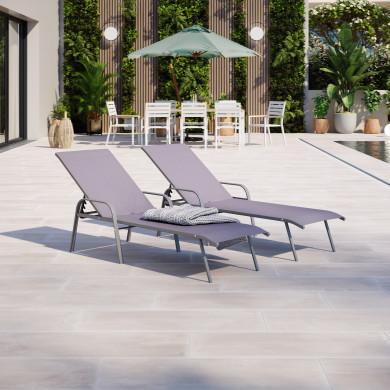 Duo de bains de soleil / transat de jardin inclinable empilable design - Gris anthracite- LEO
