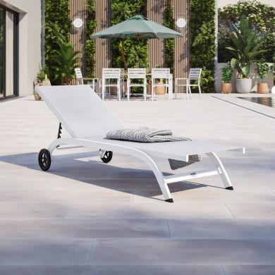 Bain de soleil / transat de jardin inclinable 5 positions avec roulettes - Blanc Gris - POL