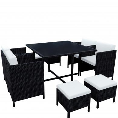 MUNGA 8 Places - Ensemble encastrable salon / table de jardin résine tressée-Noir/Ecru