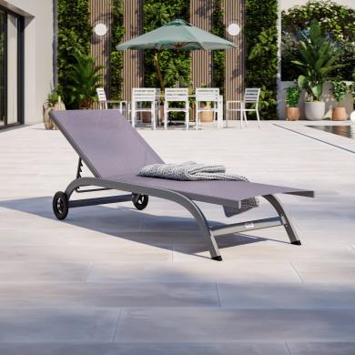 Bain de soleil / transat de jardin inclinable 5 positions avec roulettes - Gris Anthracite - POL