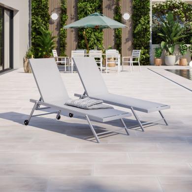 Duo bains de soleil / transat de aluminium inclinable avec roulettes - Argenté Gris clair- ALIA