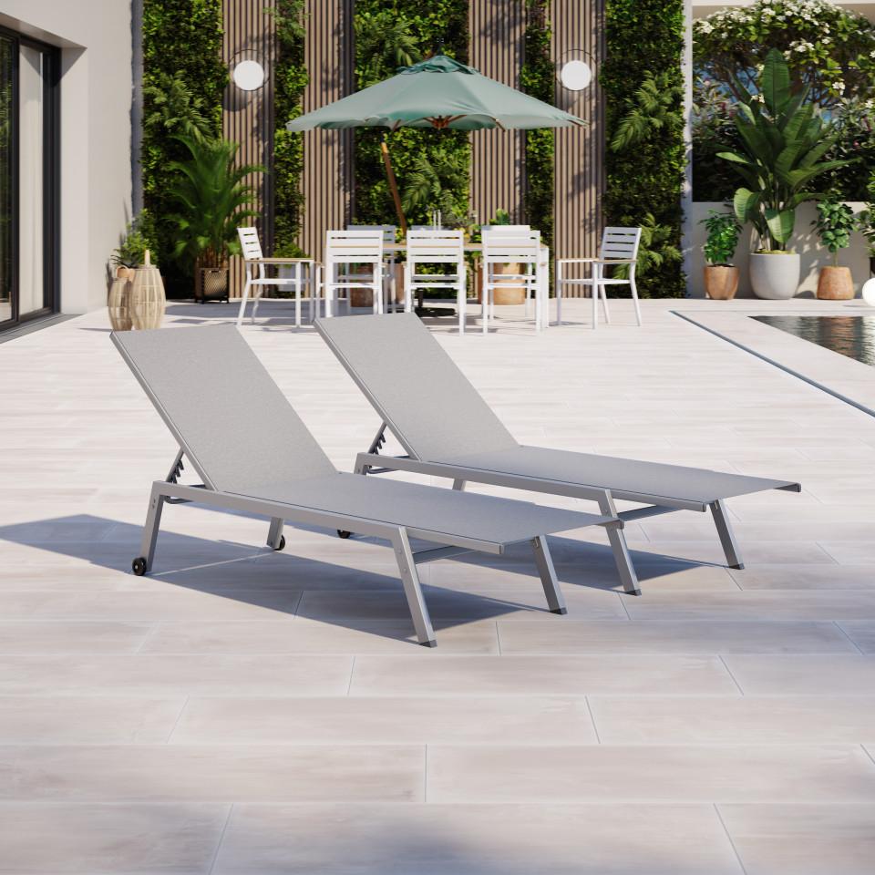 Duo de bains de soleil/transat de jardin inclinable 5 positions - Argenté Gris  - COSTA