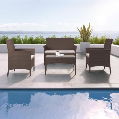 IMORA - Salon de jardin résine tressée Marron - ensemble 4 places - Canapé + Fauteuil + Table
