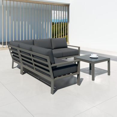 MIO - Ensemble salon de jardin design en aluminium et résine tressée  - graphite-intérieur/extérieur