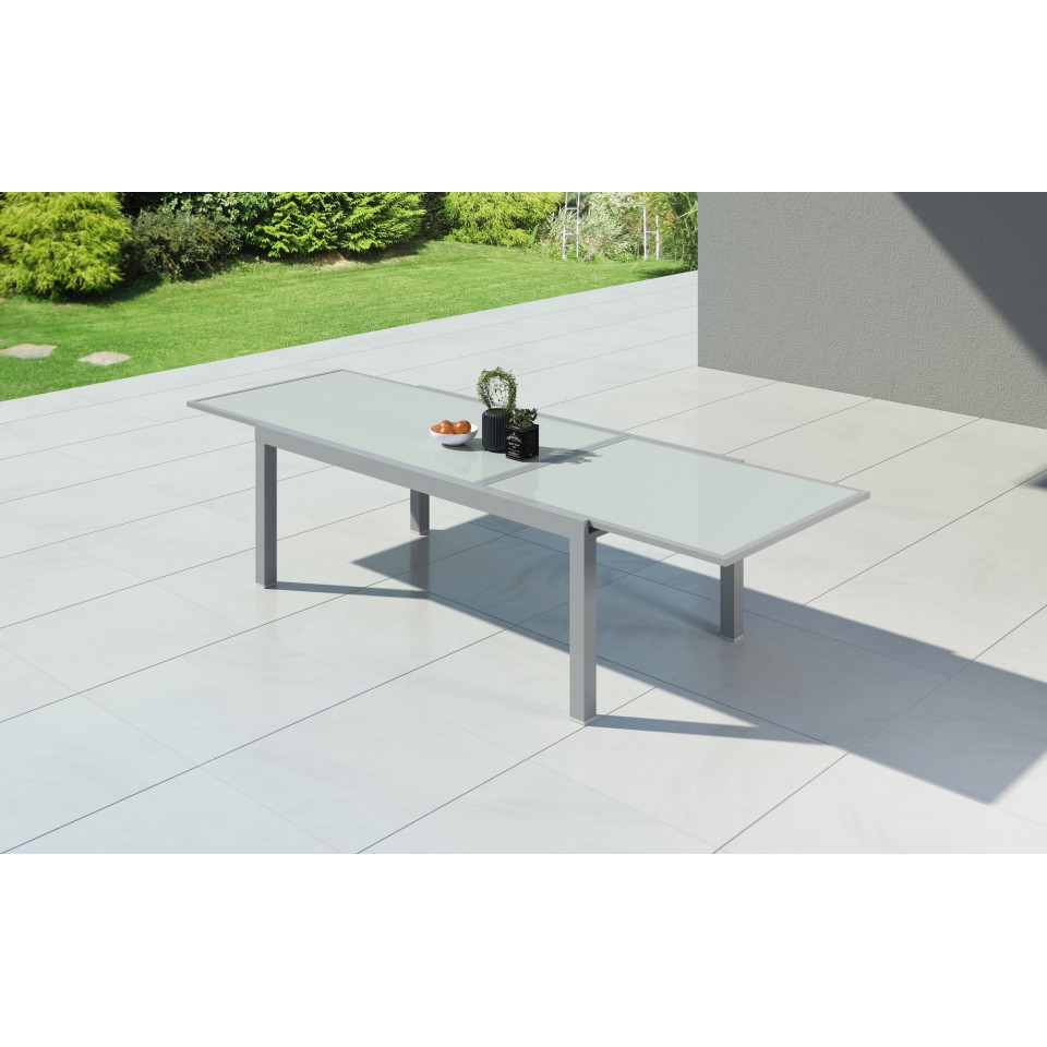 HARA XXL - Table de jardin extensible aluminium 200/320cm + 10 ...