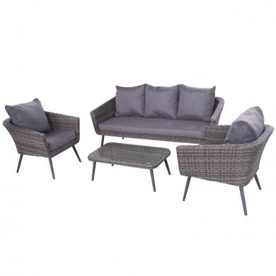 Ensemble salon de jardin scandinave en Aluminium 5 places résine tressée-extérieur -noir / gris - NILS 5