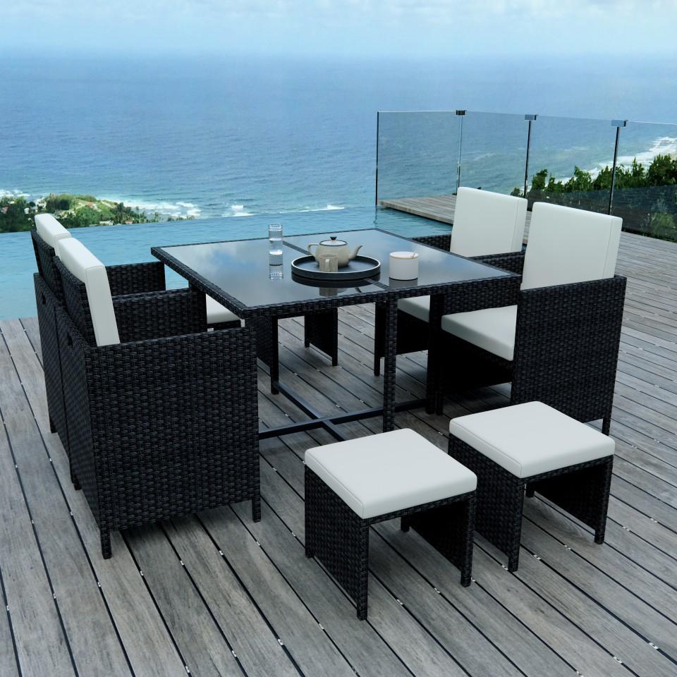 8 places ensemble encastrable salon table de jardin - Salon de jardin encastrable 8 places ...