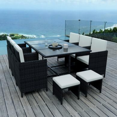 10 Places - Ensemble encastrable salon / table de jardin résine tressée-Noir/Ecru Model TUNGA10