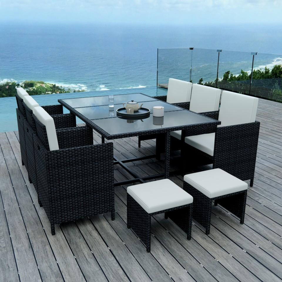 5 Places - Ensemble encastrable salon / table de jardin résine