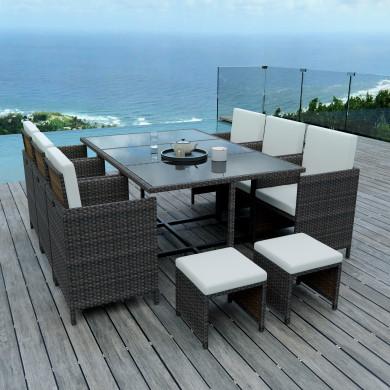 10 Places - Ensemble encastrable salon / table de jardin résine tressée-Marron /Ecru Model TUNGA10