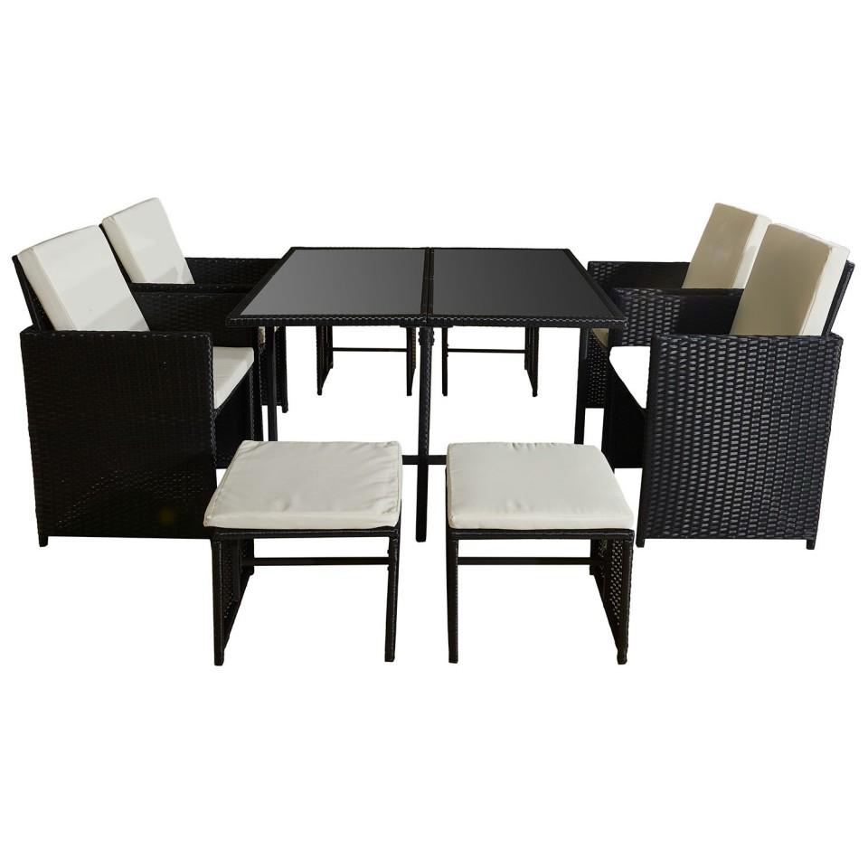 7 Places - Ensemble encastrable salon / table de jardin résine