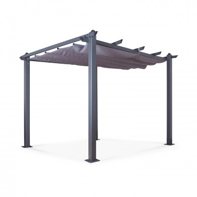 Tonnelle/Pergola aluminium 3x3m toile coulissante rétractable - Gris Anthracite - model Hero