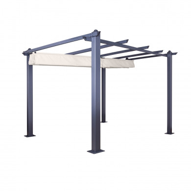 Tonnelle/Pergola aluminium 3x3m toile coulissante rétractable - Gris Taupe - model Hero