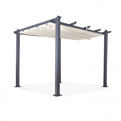 Tonnelle/Pergola aluminium 3x3m toile coulissante rétractable - Gris Taupe - model Hero